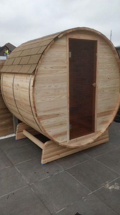 Barrel sauna infrarood in Knotty Cedar uitvoering
