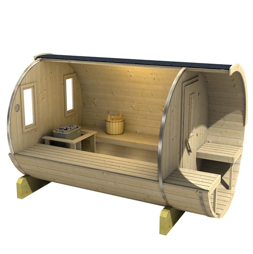 Barrel sauna 250/300 zijaanzicht