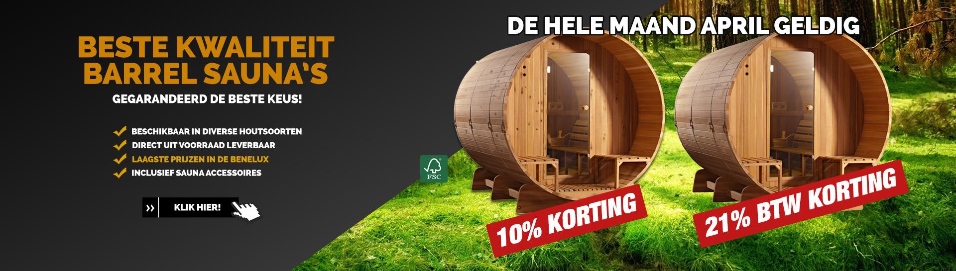 Barrel sauna April actie